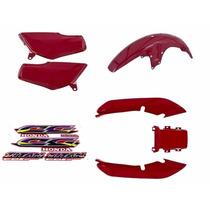 Kit Plásticos Carenagem Cg Titan 125 97 Vermelha C/ Adesivo