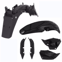 Kit Carenagem + Paralama Traseiro P/ Fan 125 2005 2006 Preto
