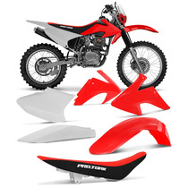 Kit Plástico Banco Preto Vermelho Crf 230 15 Roupa Completa