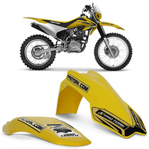 Kit Paralama Dianteiro Traseiro Mx2 Cross Pro Tork Amarelo