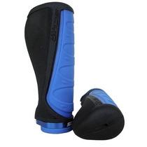 Kit Manopla Punho Scud Ergonomica Universal Preto Com Azul
