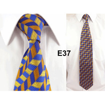 Gravata Executiva Azul E Amarelo 100% Seda Pura Linda - E37