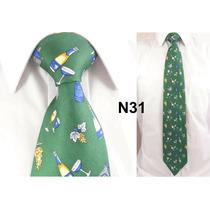 Gravata Vintage Verde 100% Seda Pura Estampa Comemoração N31