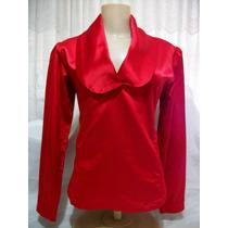 Blusa Vermelha Feminina Em Cetim Com Lycra - Da Simulassão
