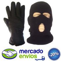 Kit Luva Couro Sintético + Touca Ninja Menor Frete Do Site