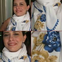 Echarpe Lenço Cachecol Scarf Pashmina Branco E Azul Gripir