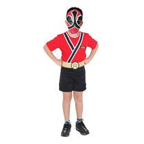 Fantasia Power Ranger Samura Vermelho Infantil Completa Pop