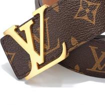 Cinto Louis Vuitton Em Couro Fivela Preta, Prata E Dourada