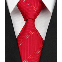 Gravata Seda Vermelha Pontinhos Prata Gvt 654