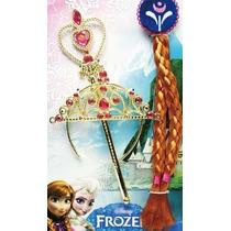 Fantasia Luxo Tiara Trança E Varinha Frozen Pronta Entrega