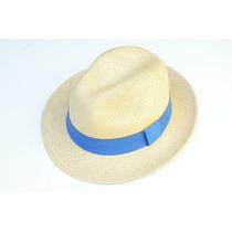 Chapéu Panamá Original Palha Toquilla Faixa Azul Aba Curta