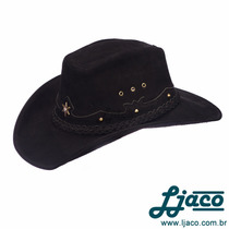 Chapeu Preto Americano Couro Legitimo Country Cowboy Tf46pe