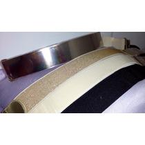 Cinto Feminino Placa Metal Belt Elástico Dourado Bege Preto