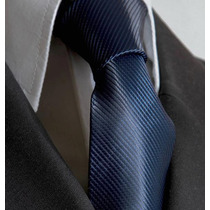 Gravata Azul Petroleo Trabalhada Semi Slim Sem No