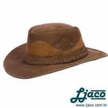 Chapeu Australiano Couro Legitimo Country Cowboy Tf16 2