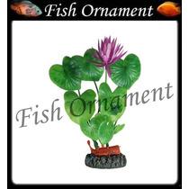 Enfeite Soma Planta Ninfeia Com Flor 20cm Fish Ornament