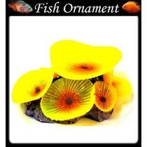 Enfeite Aquário Silicone Soma Coral Mushroom Giant Amarelo