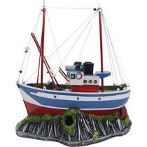 Enfeite Para Aquário - Barco Rede Pesca