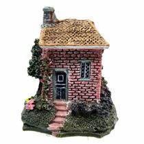 Enfeite De Resina Para Aquário Mini Casa Vermelha Ch-1545