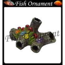 Enfeite Aquario Ceramica Tronco Decorado Fish Ornament