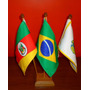 Kit Bandeira De Mesa Com 3 Mastros -alt.31cm