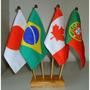 Kit Bandeira De Mesa Com 4 Mastros -alt.31cm