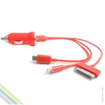 Carregador De Iphone Automotivo 3 Usb Conectores Vermelho