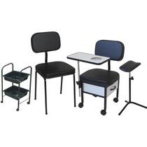 Cadeira Para Manicure + Cadeira Cliente + Carrinho + Tripé
