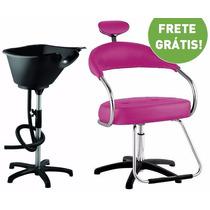 Kit Salão Cabeleireiro Básico: Cadeira + Lavatório