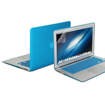 Kit 3x1 Capa Case Protetor Tela Teclado Azul Macbook Air 13