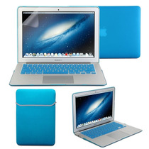 Kit 4x1 Capa Case Protetor Tela Teclado Azul Macbook Air 11