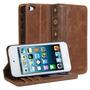 Carteira Capa Case Protetor De Couro Marrom Ipod Touch 5