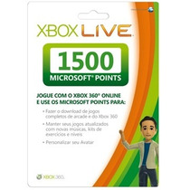 Cartão Live 1500 Points Microsoft Xbox