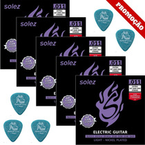 5 Dunlop 1.14mm + 5 Encordoamentos Solez Slg11 011 Guitarra