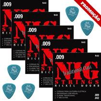 5 Dunlop 1.14mm + Jogo De Cordas Nig 09 Guitarra N63 5 Sets