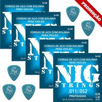 5 Dunlop 1.14mm + 5 Jogos De Cordas Nig Violão Aço 011 N430