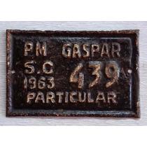 Placa Antiga De Bicicleta Prefeitura De Gaspar Sc Ano 1963