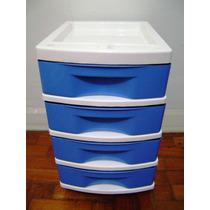 Gaveteiro Plástico Branco E Azul 4 Gavetas Com Rodinhas