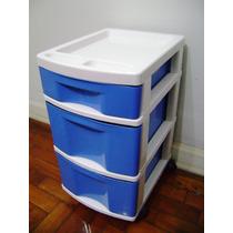 Gaveteiro Plástico Branco E Azul 3 Gavetas (2 Gdes E 1 Pqna)