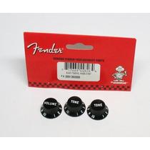 Knobs Fender Strato Preto- 3 Peças - Made In U S A