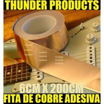 6cm X 2m Fita Folha Cobre Adesiva Blindagem P/guitarra Baixo
