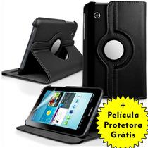 Capa Giratória Couro Tablet Samsung Galaxy Tab 7 + Película