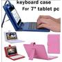 Capa Case De Couro Cores Com Teclado Usb Tablet 7 Polegadas