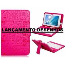Capa Com Teclado Para Tablet 7 Pol Desenhada Pink Rosa + Ada