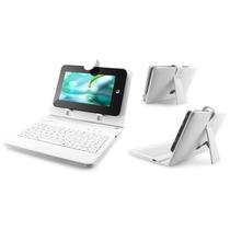 Case Para Tablet 7/9 Teclado E Adaptadores Micro Mini Branco