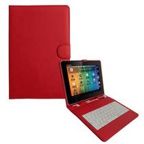Capa Teclado Android P/ Tablet 8 Polegadas Vermelha + Brinde