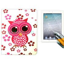 Capa Smart Case Coruja Couro Película Vidro Apple Ipad Air 2