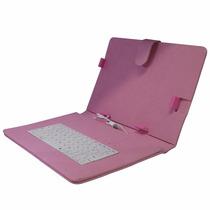 Capa Case Com Teclado Para Tablet 9 Polegadas Usb Rosa