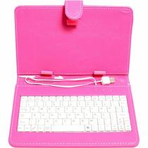 Capa Rosa Tablet 7 Polegadas Teclado V8
