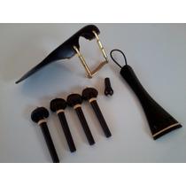 Kit Violino Em Ébano-quexeira Cravelhas Estandarte Botão